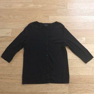 Banana Republic Black 3/4 Length Sleeve Cardigan